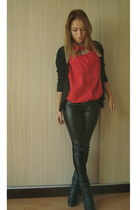 black studded boots - black leather leggings - red shirt - black cardigan