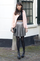 thrifted skirt - H&M Trend jacket - Nowhere bag - Jeffrey Campbell wedges