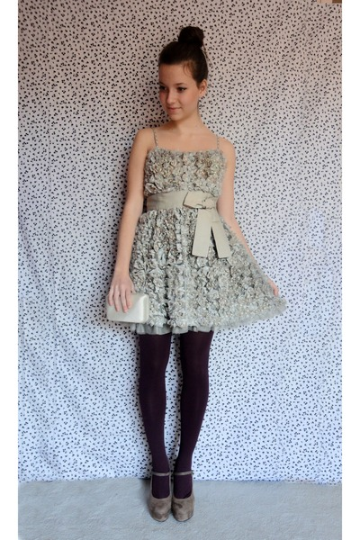 silver ruffled bow Darling dress - brick red opaque Accessorize tights