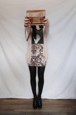 japanese print Bershka skirt - bronze satchel Zara bag - bershka men top