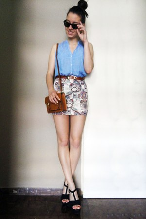sky blue Zara shirt - black Zara wedges - white Bershka skirt