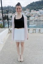 white H&M skirt - black Bershka blouse - neutral unknown brand heels