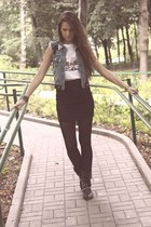 boots - periwinkle vest - black t-shirt - black skirt