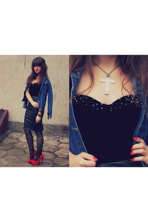 black bra - blue jacket - red allegropl heels - black zara skirt