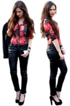 black pants - black jacket - red blouse - black heels