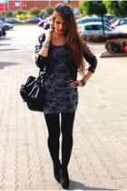heather gray dress - black jacket - black bag - black wedges