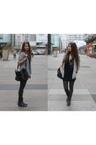 black bag - black boots - black sweater - silver blazer - charcoal gray tights