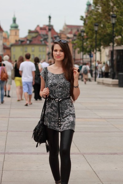 Heather Gray Dresses Black Leggings Black Sandals | u0026quot;acid washu0026quot; by Irja | Chictopia