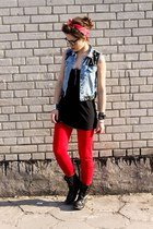 black boots - red leggings - blue vest - black blouse