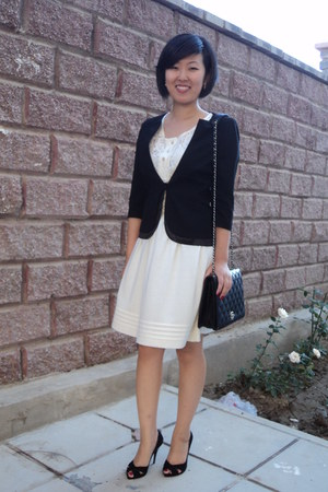 ivory lace dress Mango dress - black unknown brand jacket - black Old fake my au