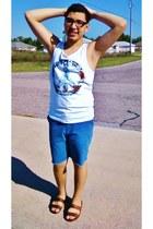 peace cotton on shirt - blue Urban Outfitters shorts - alligator skin flea marke