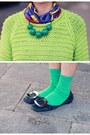 Whitles-sweater-hermes-scarf-hm-skirt-roger-vivier-flats