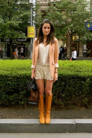Zara boots - H&M blazer - Zara shirt - Zara bag