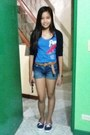 Dickies-shorts-blue-aeropostale-top-navy-zara-cardigan