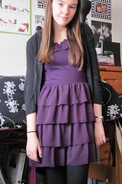 purple Forever 21 dress - black Target sweater - black Target leggings - gray Ch