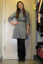 gray delias dress - black JCP tights - black Charlotte Russe boots