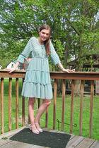 blue H&M dress - white shoes