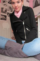 black Forever 21 jacket - pink unknown scarf - gray Charlotte Russe boots - blue