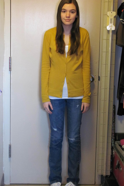 gold Target cardigan - blue Levis jeans - white Arizona t-shirt - white payless