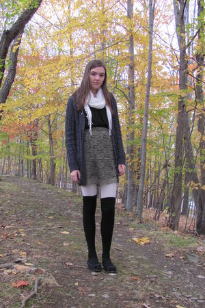 green skirt - black top - gray cardigan - white tights - black socks - white sca