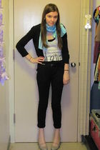 black Target pants - gray unknown shoes - white Forever 21 top - blue unknown sc