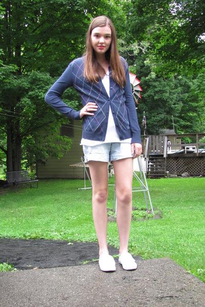 blue Target cardigan - white LEI shirt - blue grane shorts - white payless shoes