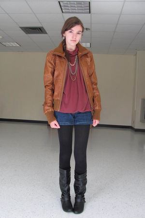 brown Target jacket - red top - blue Charlotte Ronson for JCP shorts - black Cha