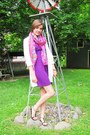 Purple-forever-21-dress-bubble-gum-unknown-scarf-white-h-m-cardigan