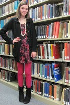 black Report boots - TJ Maxx dress - hot pink Target tights - black Target cardi