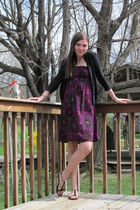 purple dress - black sweater - black shoes