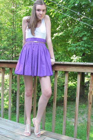 purple delias skirt - white Max AzriaMiley Cyrus shirt - white shoes - gold thri