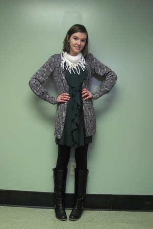 black olsenboye boots - teal Target dress - white DIY scarf - gray Forever 21 ca