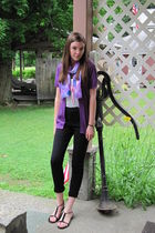 purple sweater - black pants - purple scarf - pink necklace - black shoes - whit