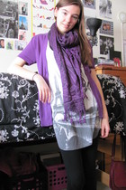 purple Worthington sweater - black Target leggings - Forever 21 top - purple Wal