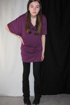 purple dress - black leggings - black boots