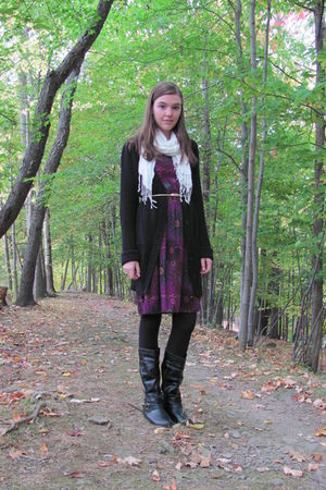 white scarf - purple Target dress - black thrifted cardigan - gold thrifted belt
