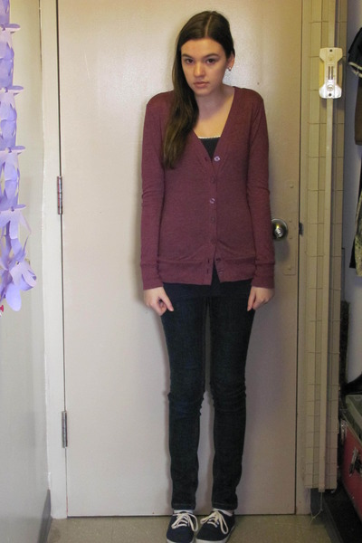 blue unknown shoes - blue Arizona jeans - blue JCP top - purple Forever 21 sweat