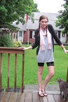 black H&M leggings - gray Target dress - black Target sweater - pink gift scarf