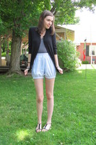 light blue American Apparel shorts - gray LnA top - black cardigan
