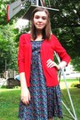 Navy-h-m-dress-white-unknown-sandals-red-merona-cardigan