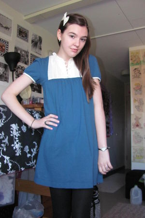 blue Heritage 1981 dress - black tights - white - Forever 21