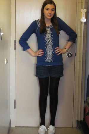 blue unknown shirt - Charlotte Ronson for JCP shorts - black Target tights - whi