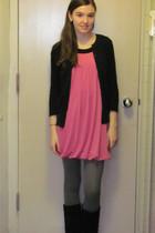 pink dress - gray tights