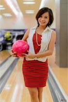 red stripped dress dress