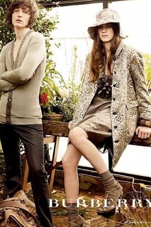 tan Burberry dress - beige Burberry hat - beige floral print Burberry jacket - t