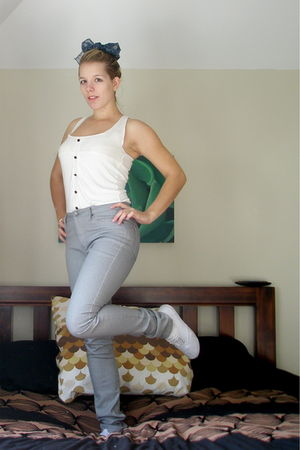white dress - silver Lee jeans - white Wharehouse shoes - blue vintage scarf