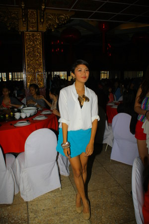 white blouse - turquoise blue DIY skirt - camel Parisian heels