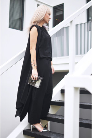 black black long Dress dress - Transparent clutch bag