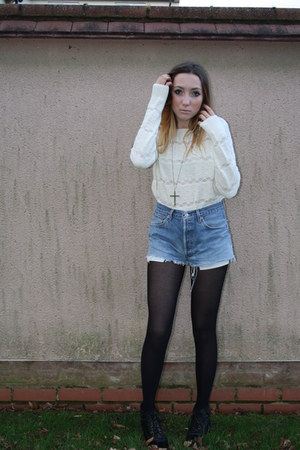 Urban Outfitters shorts - Topshop boots - Topshop sweater