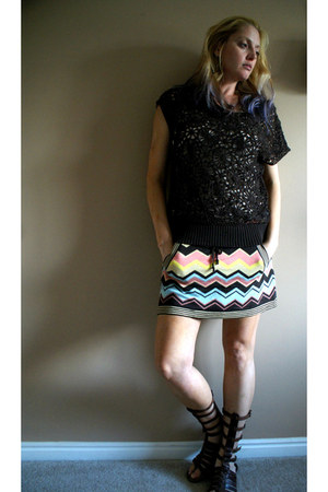 turquoise blue zig zag Missoni skirt - brown crochet thrifted shirt